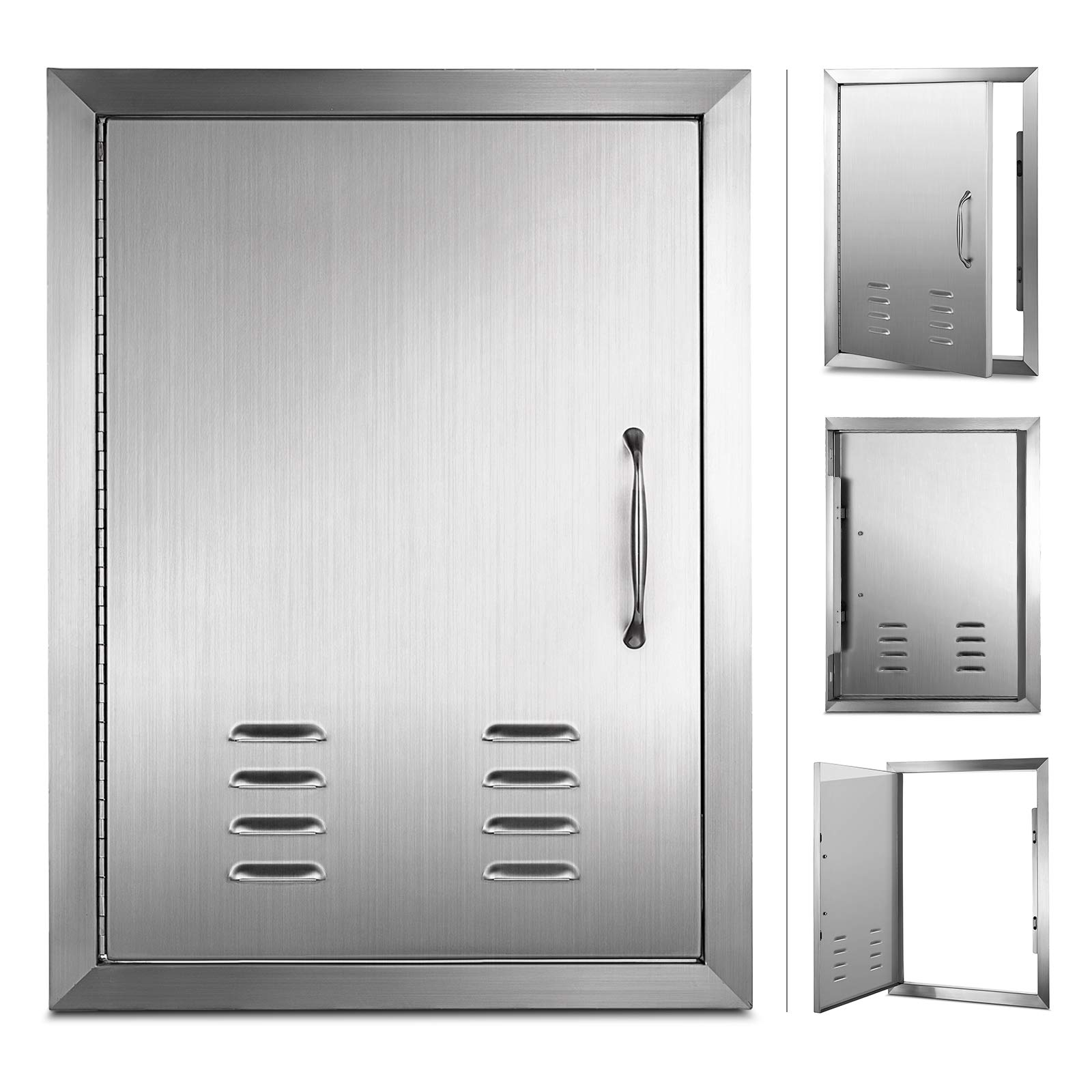 Mophorn Outdoor Kitchen Access Door 14''x 20'' Single Wall Construction Stainless Steel Flush Mount for BBQ Island, 14inch x 20inch, Vents