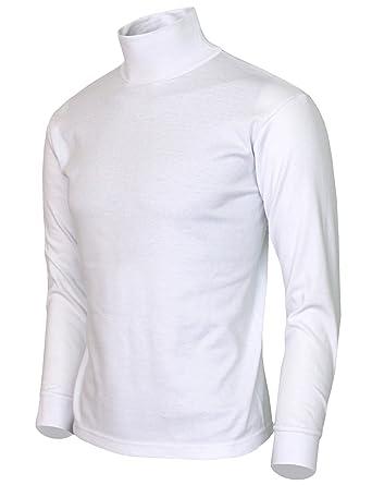 a7eacae8 BCPOLO Men's Turtleneck Shirt Long Sleeve Cotton Mock Neck Shirt.-H-White XS:  Amazon.co.uk: Clothing