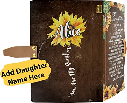 Amazon Com Personalized Custom Dad Mom Name To My Daughter You Are My Sunshine Sunflower Engraved Leather Handmade Journal Notebook Anniversary Birthday Graduation Gifts From Mother Father Arts Crafts Sewing