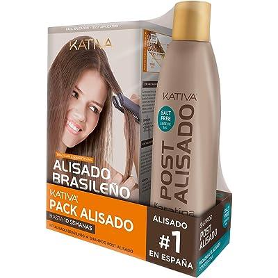 Pack ahorro Kativa Kit Alisado Brasileño con Champú Post Alisado - Tratamiento Alisado Profesional en casa - Hasta 12 Semanas de duración - Alisado Keratina