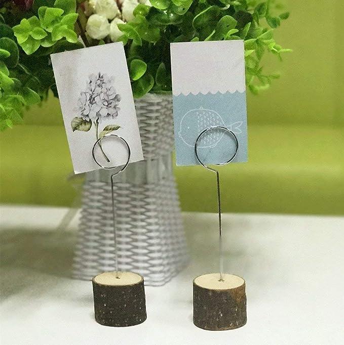 supporto per foto di matrimonio 10 segnaposto con base in legno a forma di caramella memo decorazioni per feste supporto da scrivania in filo di ferro