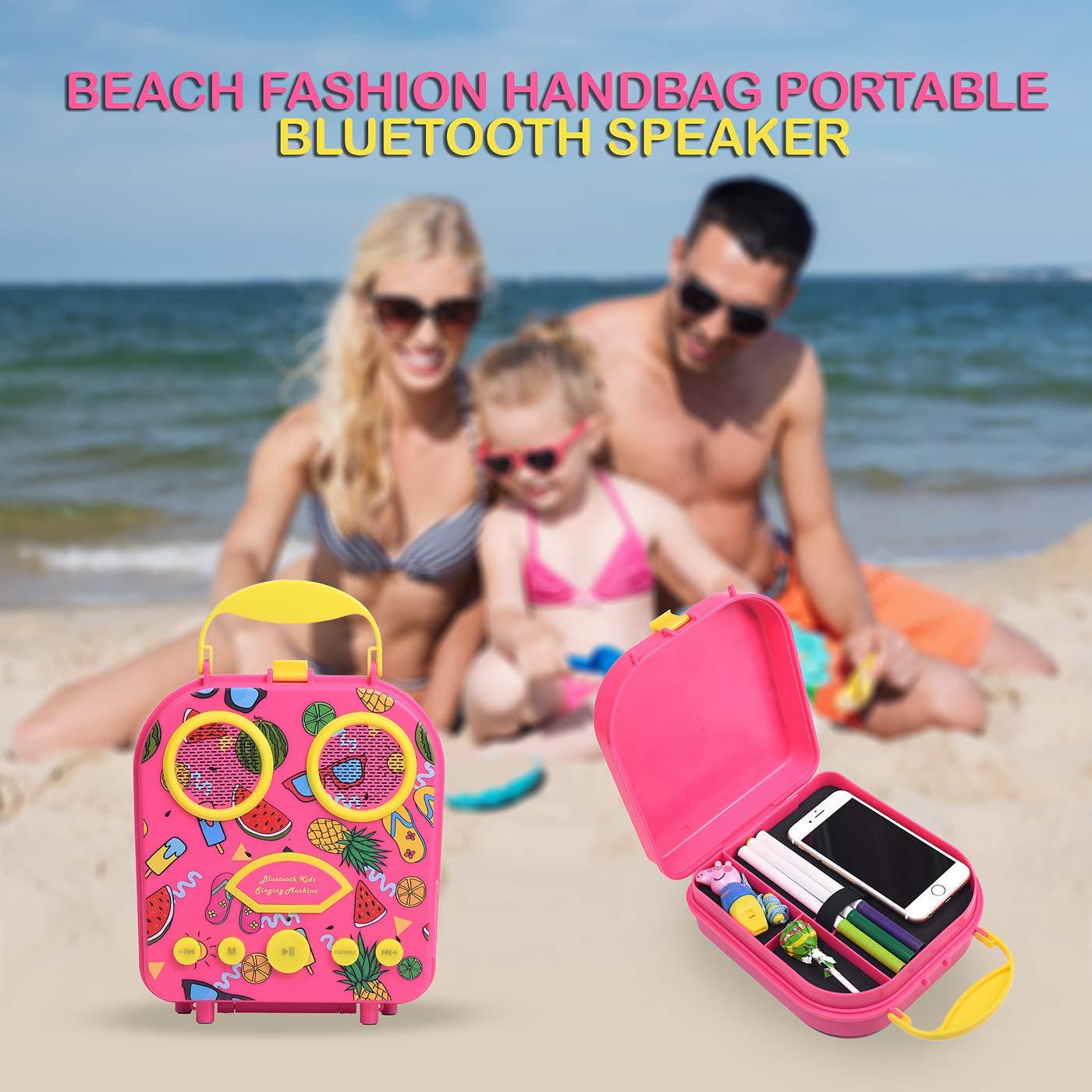 Bluetooth Speaker Children's Karaoke Speaker Portable Microphone Beach Handbag Karaoke Bluetooth Speaker Wireless Cartoon Speaker for Kids for Indoor Outdoor Travel Activities with Microphone (Pink) by HowQ (Image #8)
