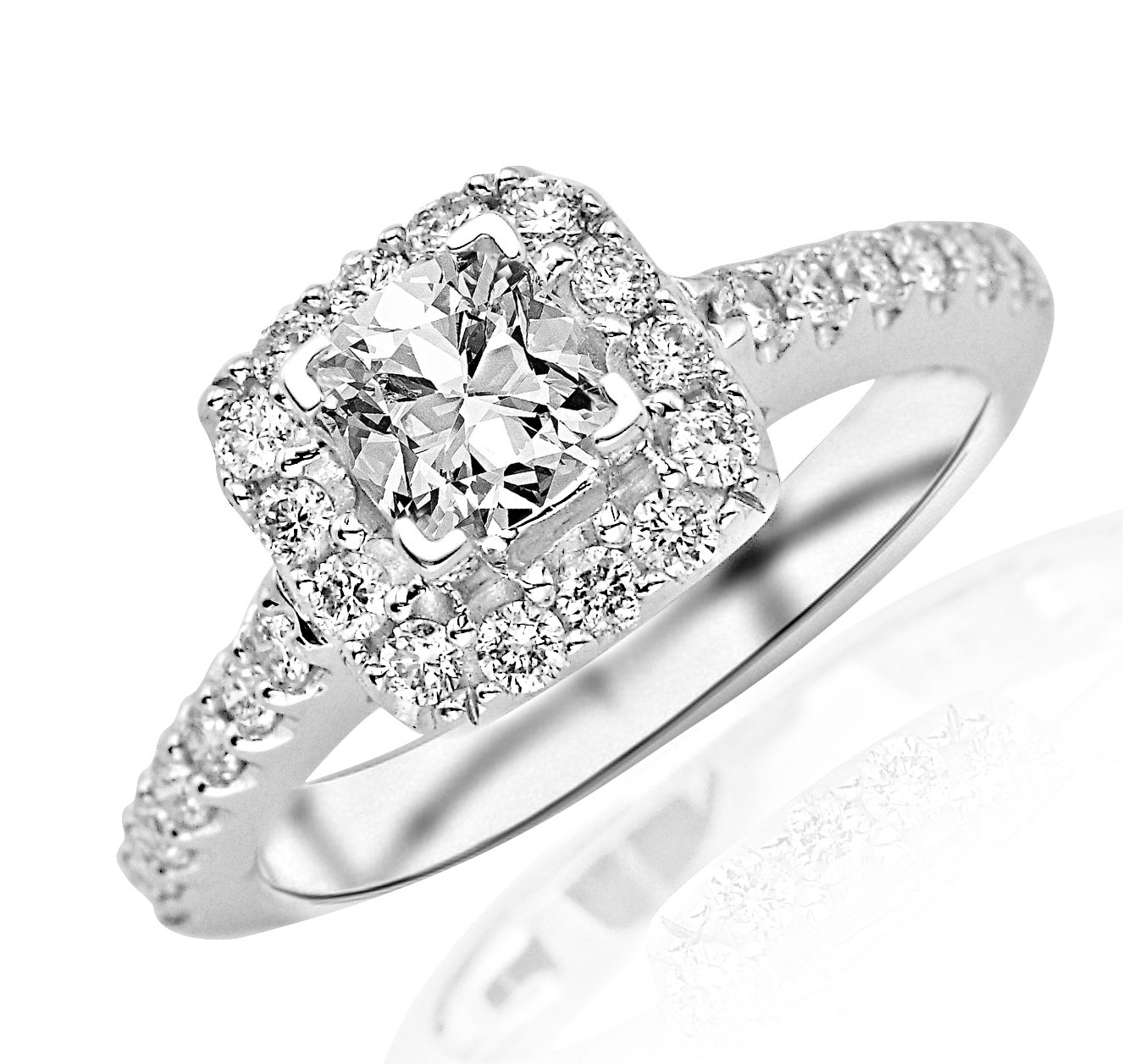 1.26 Carat GIA Certified Square Halo Diamond Engagement Ring (G Color, VS2 Clarity)