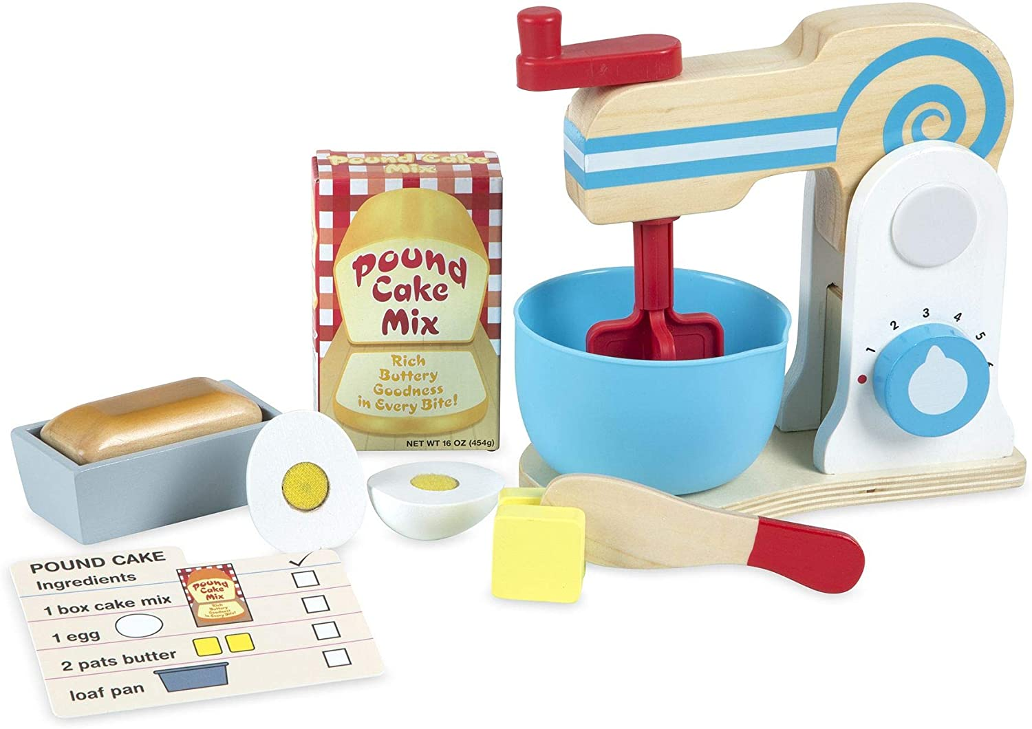 Melissa & Doug Wooden Make-a-Cake Mixer Set, Multicolor (19840 ...