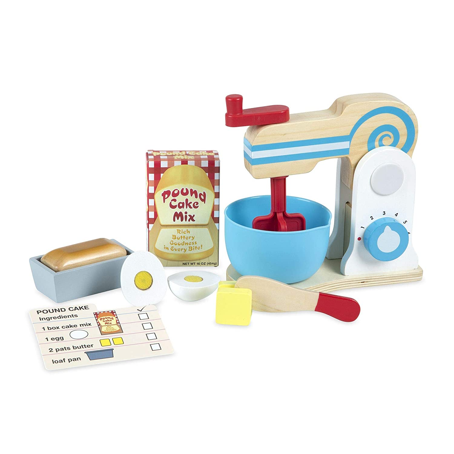 Melissa & Doug Wooden Make-a-Cake Mixer Set, Kitchen Toy, Numbered Turning Dials, Encourages Creative Thinking, 11-Piece Set, 13.5″ H × 10″ W × 5″ L