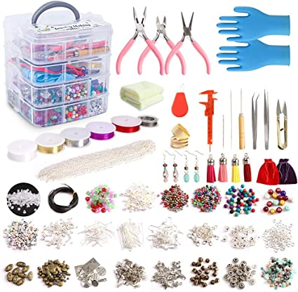 5 Jewelry Wire Beading Wire Rolls Jewelry Making Supplies Craft Wire Jewelry Beading Making Kit Pliers Silver Beads Wire Starter Tool