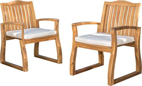 Christopher Knight Home Della Acacia Wood Outdor Dining Chairs, 2-Pcs Set, Teak Finish With Rustic Metal