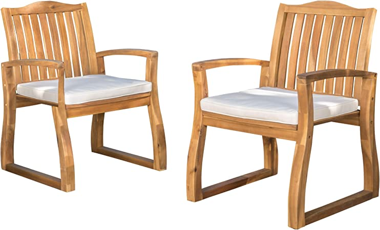 Amazon Com Christopher Knight Home Della Acacia Wood Outdor Dining Chairs 2 Pcs Set Teak Finish With Rustic Metal Garden Outdoor