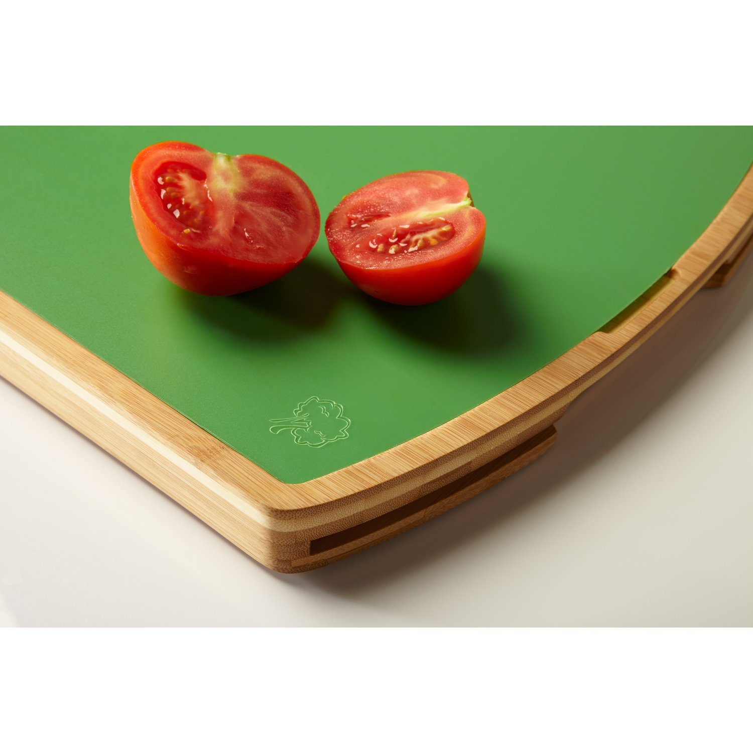Seville Classics Easy-to-Clean Two-Tone Bamboo Cutting Board with Juice Well and 5 Color-Coded Flexible Cutting Mats