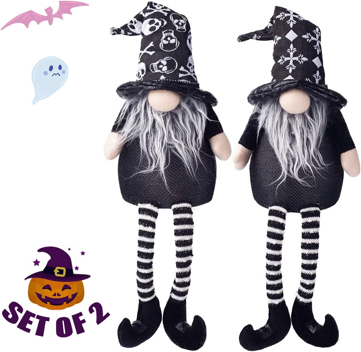 EDLDECCO Halloween Gnomes Set Light with Timer Set of 2 Nisse Swedish Nordic Tomte 22 Inches Decor Wizard Witch Hat Home Party Decorations(Black & White)