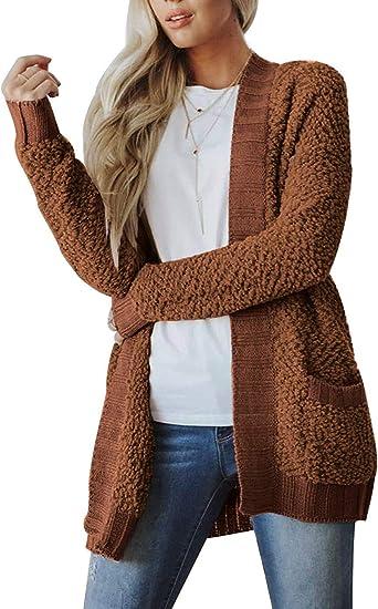 Women/'s Long Cardigan Sweater Patchwork Open Front Long Sleeve Loose Winter Coat