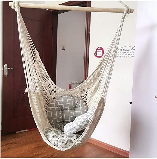 KOREY Interior Exterior Hamaca Portable Algodón Silla Hamaca Columpio Colgante para Mecerse Aire Libre Ultraligera Jardín: Amazon.es: Hogar