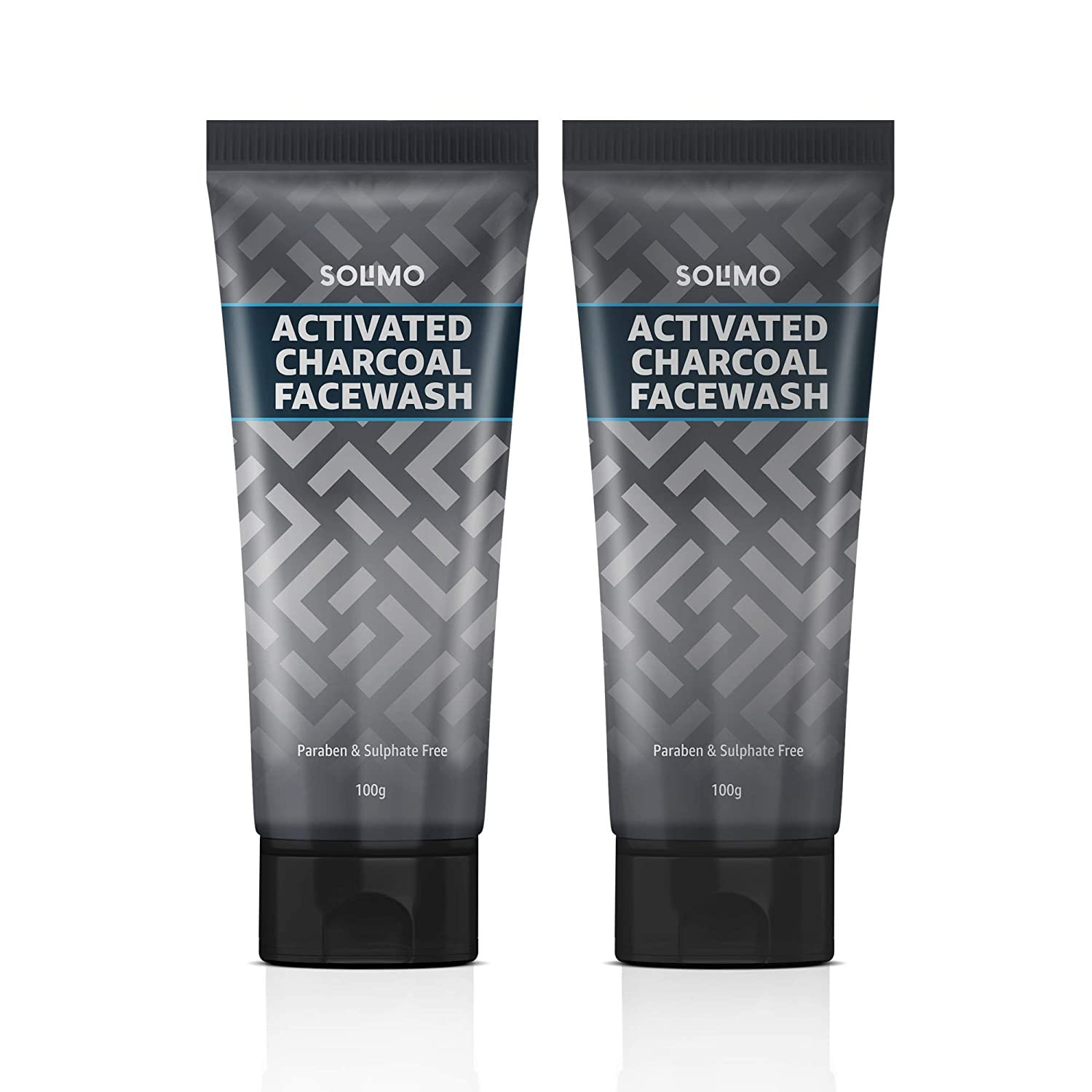 Amazon Brand - Solimo Charcoal Facewash with Scrub (Pack of 2)