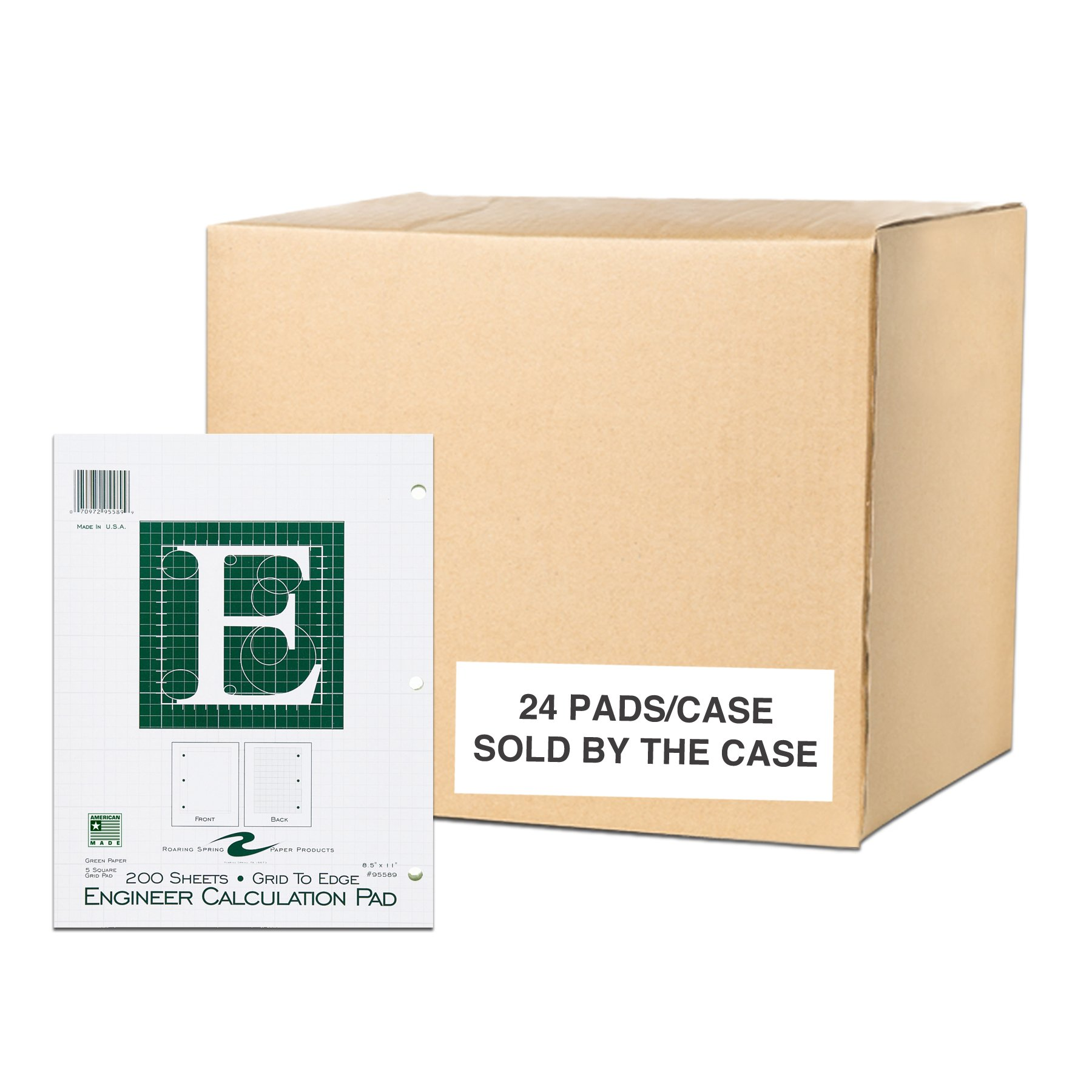 Case of 24 Engineer Pads, 8.5''x11'', 200 sheets of 16# Green tint Paper, 5x5 printed Grid to edge, 3-Hole Punched, Extra Heavy Backing by Roaring Spring Paper Products
