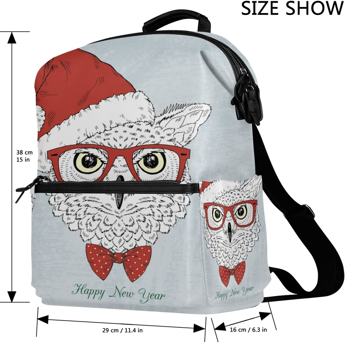 Laptop Backpack Lightweight Waterproof Travel Backpack Double Zipper Design with Painted Santa Claus And Hat School Bag Laptop Bookbag Daypack for Women Kids