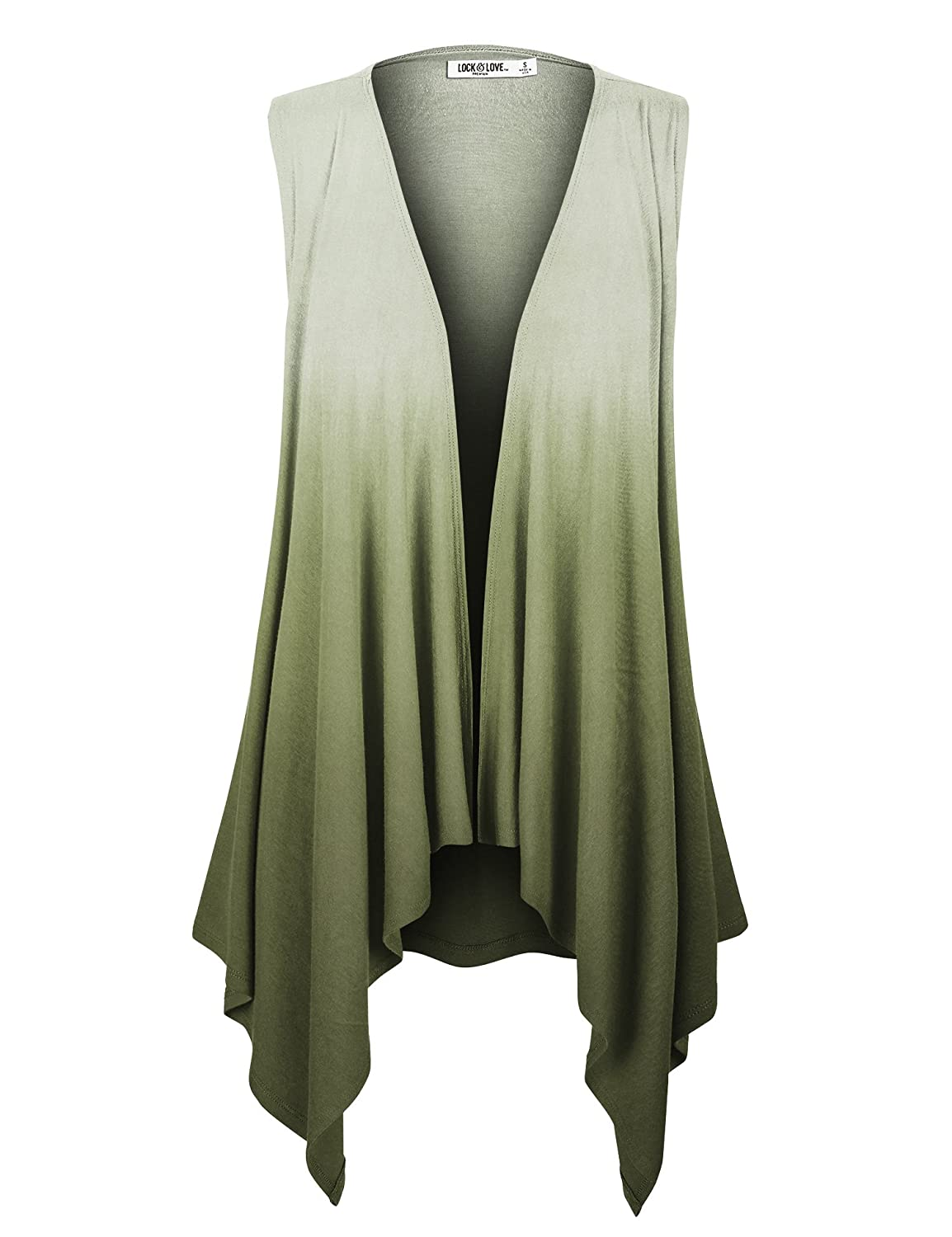 Lock and Love LL Womens Lightweight Sleeveless Ombre Open Front Cardigan Vest - Made in USA LLWSK1095