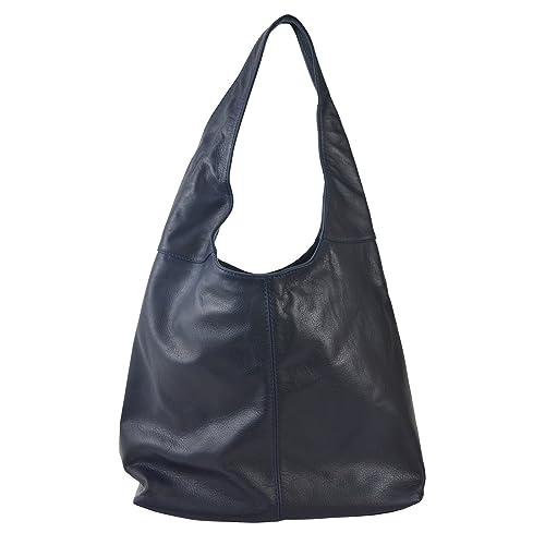 1993a933d1e20 Chicca Tutto Moda CTM Borsa a spalla da donna in vera pelle made in Italy  D6170-41x55x12 Cm  Amazon.it  Scarpe e borse