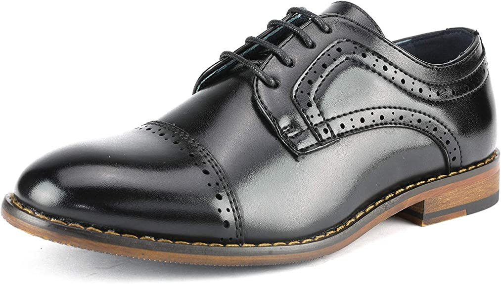Bruno Marc Little Kid Prince_K_1 Black Boy's Classic Oxfords Dress Shoes Size 1 M US Little Kid best boys' dress shoes