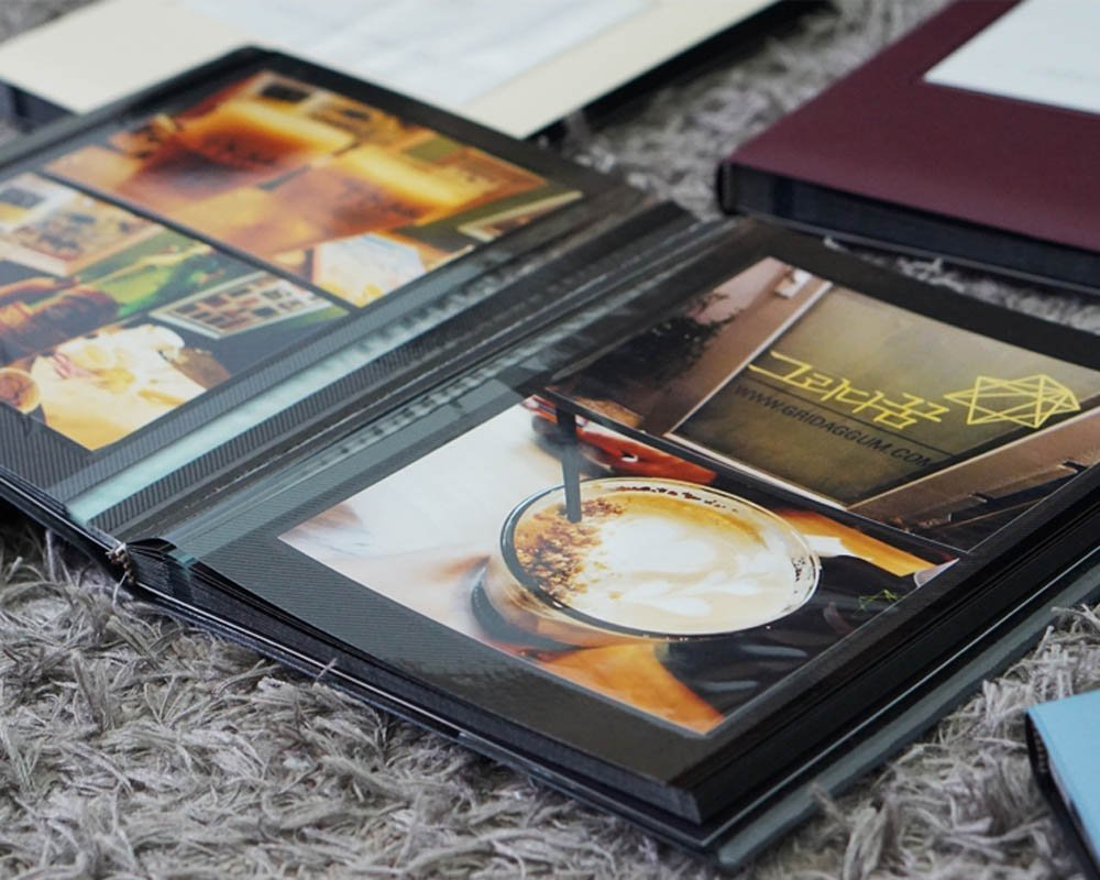 Square Front Window PU Leather 40 Pages Holds 3X5 5X7 Lovely Self Adhesive Photo Album Book Scrapbooking Scrapbook Magnetic Album 6X8 photos 4X6 Burgundy