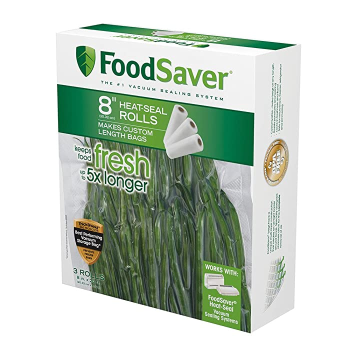 """FoodSaver 8"""" x 20' Vacuum Seal Roll with BPA-Free Multilayer Construction for Food Preservation, 3-Pack"""