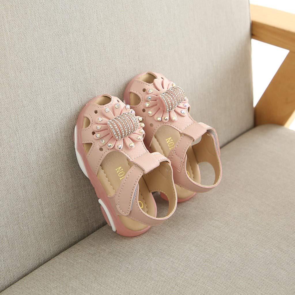 ❤️ Sunbona Children Baby Girl Led Light Luminous Sport Sandals Sneaker Shoes Crystal Flower Anti-Slip Shoes