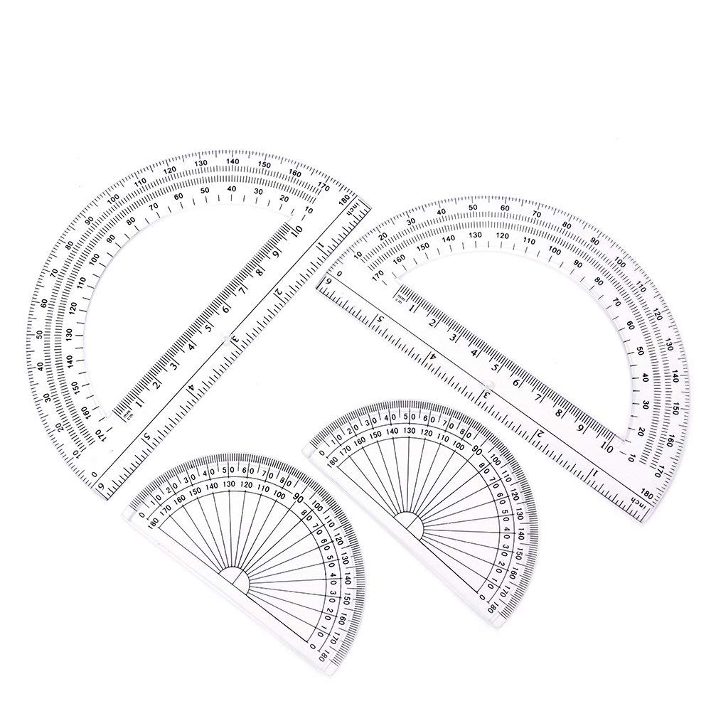 2+2 Pack Plastic Protractors 180 Degrees, 6 Inches and 4 Inch, Clear by changdadic (Image #1)