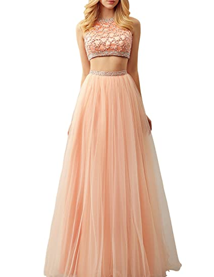 3a3b40b039a37 Jicjichos Women's 2017 Long Tulle Two Piece Homecoming Dresses Beaded Prom  Gowns J090 at Amazon Women's Clothing store: