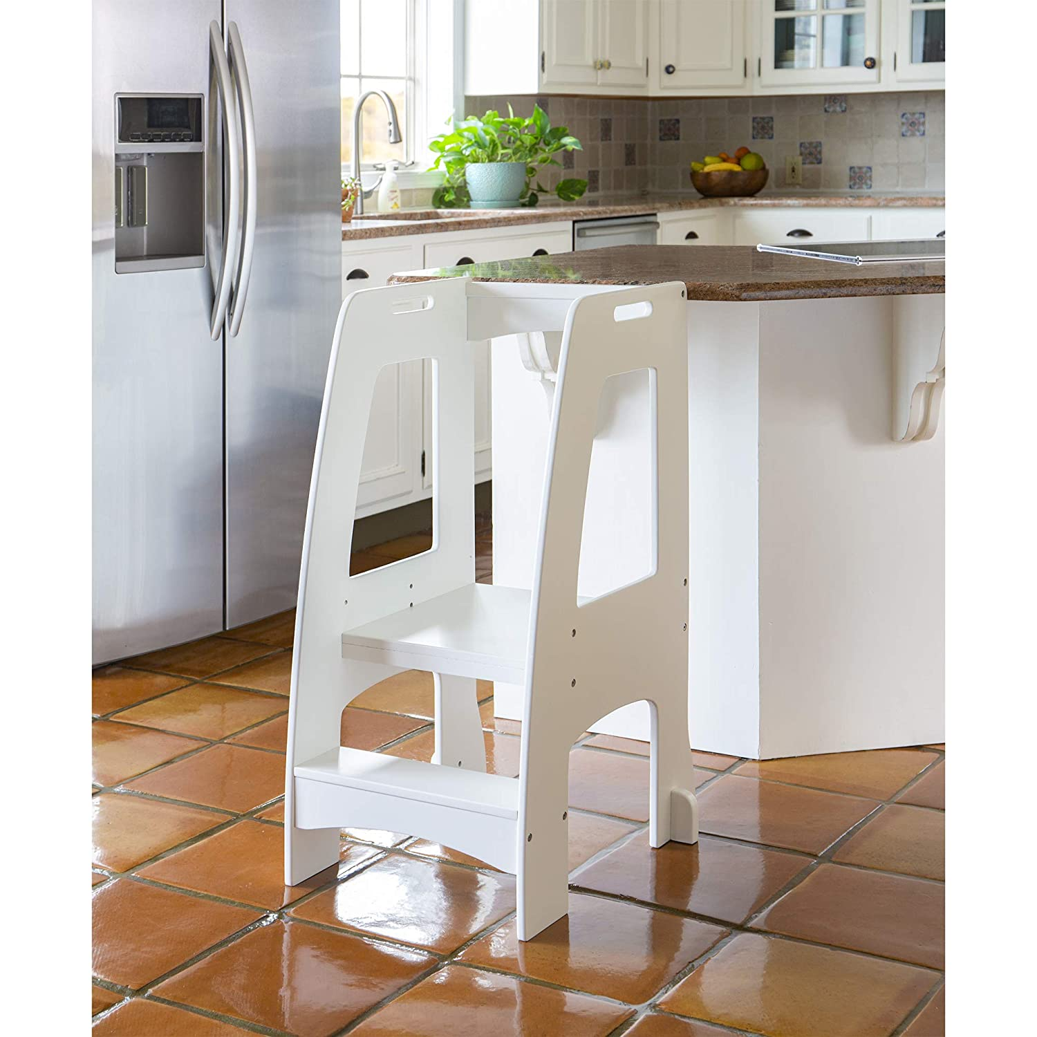 Admirable Guidecraft Kitchen Helper Tower Step Up White Kids Wooden Adjustable Height Step Stool With Safety Rails For Little Children Toddler Learning Camellatalisay Diy Chair Ideas Camellatalisaycom
