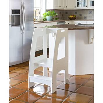 Miraculous Guidecraft Kitchen Helper Tower Step Up White Kids Wooden Adjustable Height Step Stool With Safety Rails For Little Children Toddler Learning Cjindustries Chair Design For Home Cjindustriesco