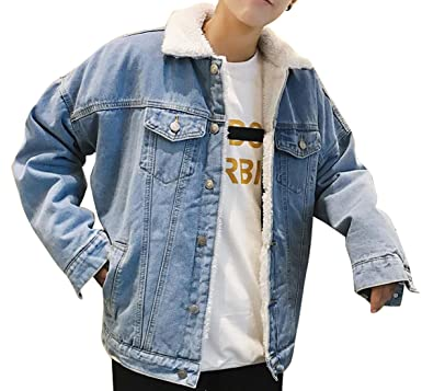 45d52af954c LD Mens Winter Lamb Wool Lined Lapel Button Up Denim Jean Jacket Coat  Outerwear  Amazon.ca  Clothing   Accessories