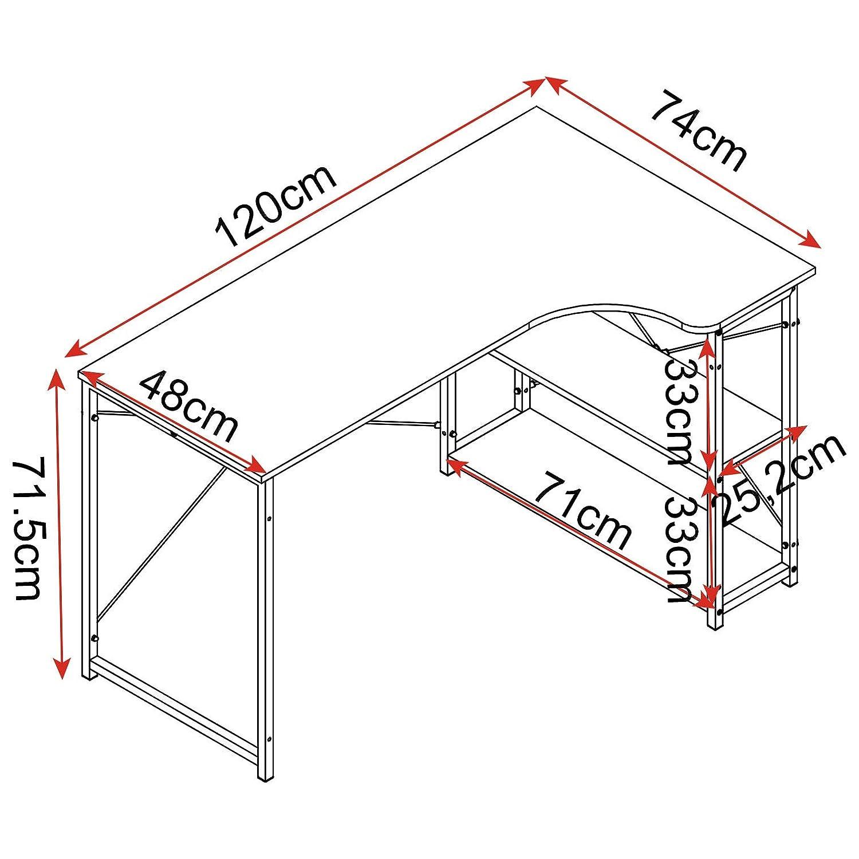 WOLTU TSB06hei Table dordinateur Table de Bureau Table de Travail en Bois et Acier,Environ 120x74x71,5 cm,12,8kg Nature Noir