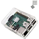 KuGi Raspberry Pi 3 Model B case PC Protective Case with 2x Heatsinks for Raspberry Pi 3 Model B, Pi 2 Model B & Pi Model B+ (Clear)