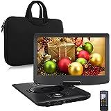 "Pumpkin 12.5"" HD DVD Portátil Coche (4000mAh Batería Interna, USB, SD) con Cargador de Coche y Bolsa de Mano, Negro"