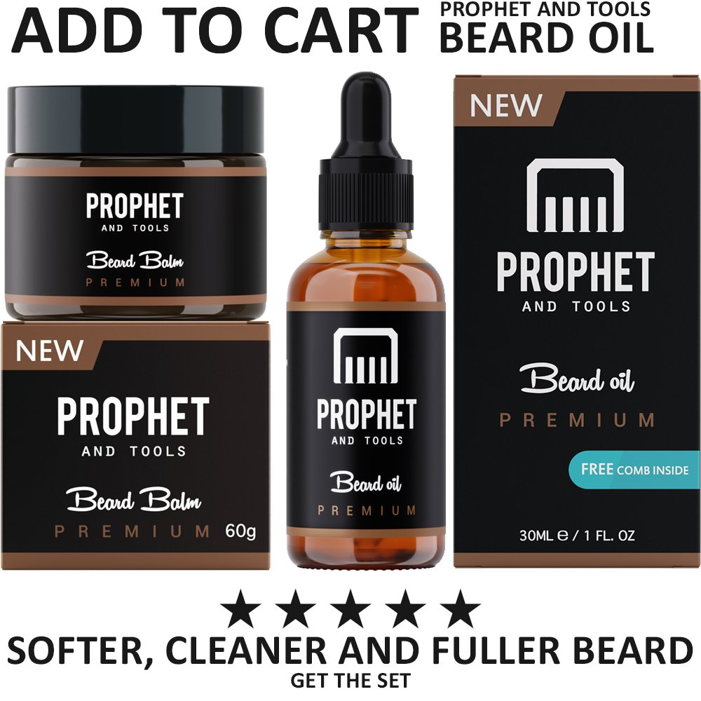 PREMIUM 2 IN 1 Beard Balm and Wax Styler FOR MEN! Adds Mild Hold, Softens Beard Hairs, Mustache & Goatee, Shine Booster and Fuller Thicker Beard Growth! Prophet and Tools