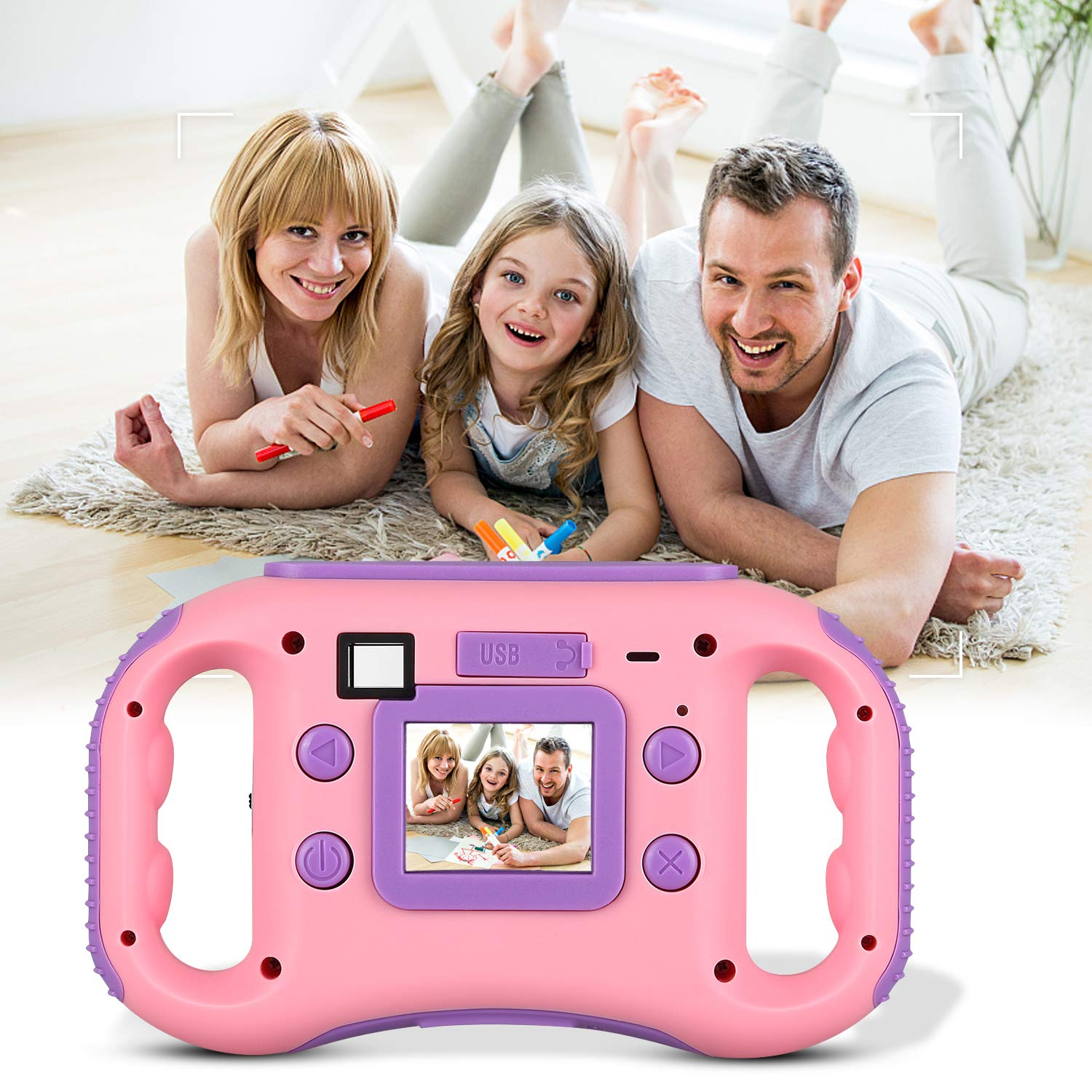 AGM Kids Camera for Girls & Boys, 1.77Inch Children Video Recorder Toddler Digital Camera,Creative Birthday Children's Day Gifts (Pink) by AGM (Image #7)