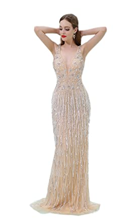 Ikerenwedding Womens Crystal Beaded Sequins Tassel Mermaid Evening Prom Dress
