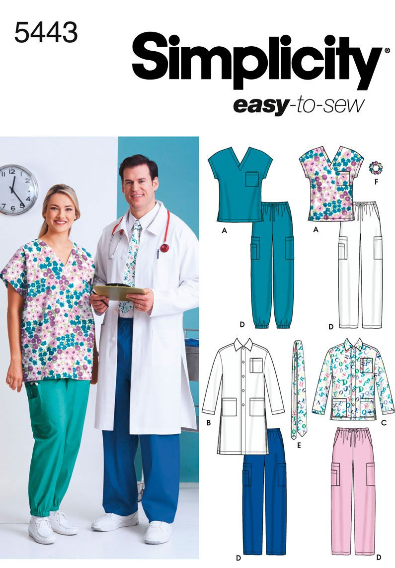 Simplicity Easy-To-Sew Pattern 5443 Women's and Men's Scrub Top, Jacket in 2 Lengths, Pants, Tie and Hairband Chest XL-XXXL Simplicity Creative Patterns