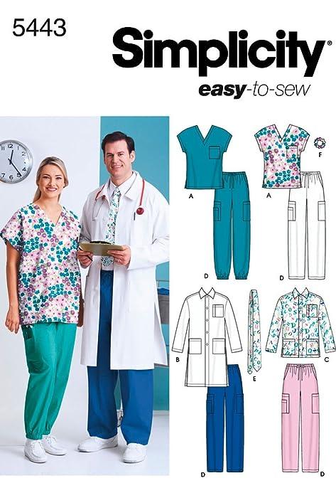 Simplicity 5443 BB - Patrones de costura para uniformes médicos ...