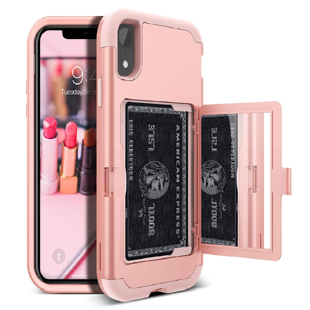 iPhone XR Wallet Case - WeLoveCase Defender Wallet Design with Card Holder and Hidden Back Mirror Three Layer Heavy Duty Protection Shockproof All-round Armor Protective Case for iPhone XR - Rose Gold
