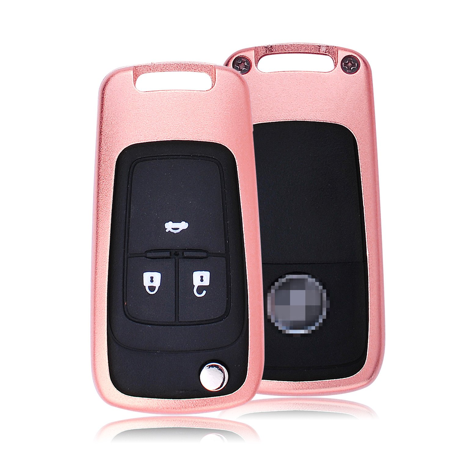 Cool Protector Case Skin Fits Buick Folding Flip Car Key Aircraft Aluminum Key Fob Cover For Buick Remote Key Unisex Leather Key Fob Keychain for Men Key Fob Holder for Women Rose Gold MissBlue
