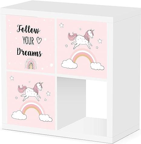 Debe Juego de cajas de Kallax para habitación infantil, diseño de doble cara, 33 x 33 x 38 cm, plegable, caja para juguetes, 3 unidades Kallax Box Set ...