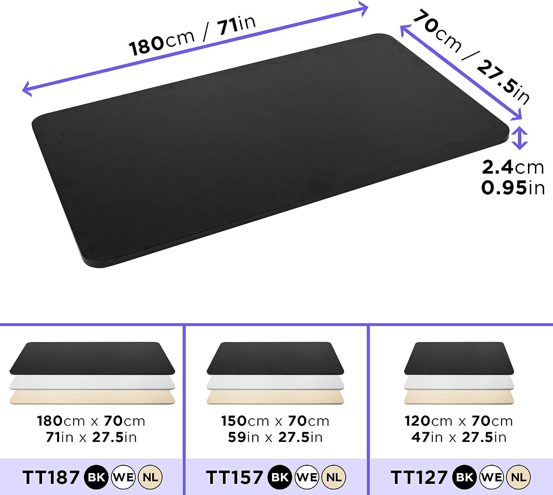 Duronic TT187 BK Plateau de Bureau Assis-Debout Noir | Plan de Travail pour Bureau | 180 x 70 cm | Hauteur Ajustable | MDF