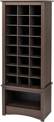 Prepac Tall Shoe Cubbie Cabinet, 24 Pair, Espresso