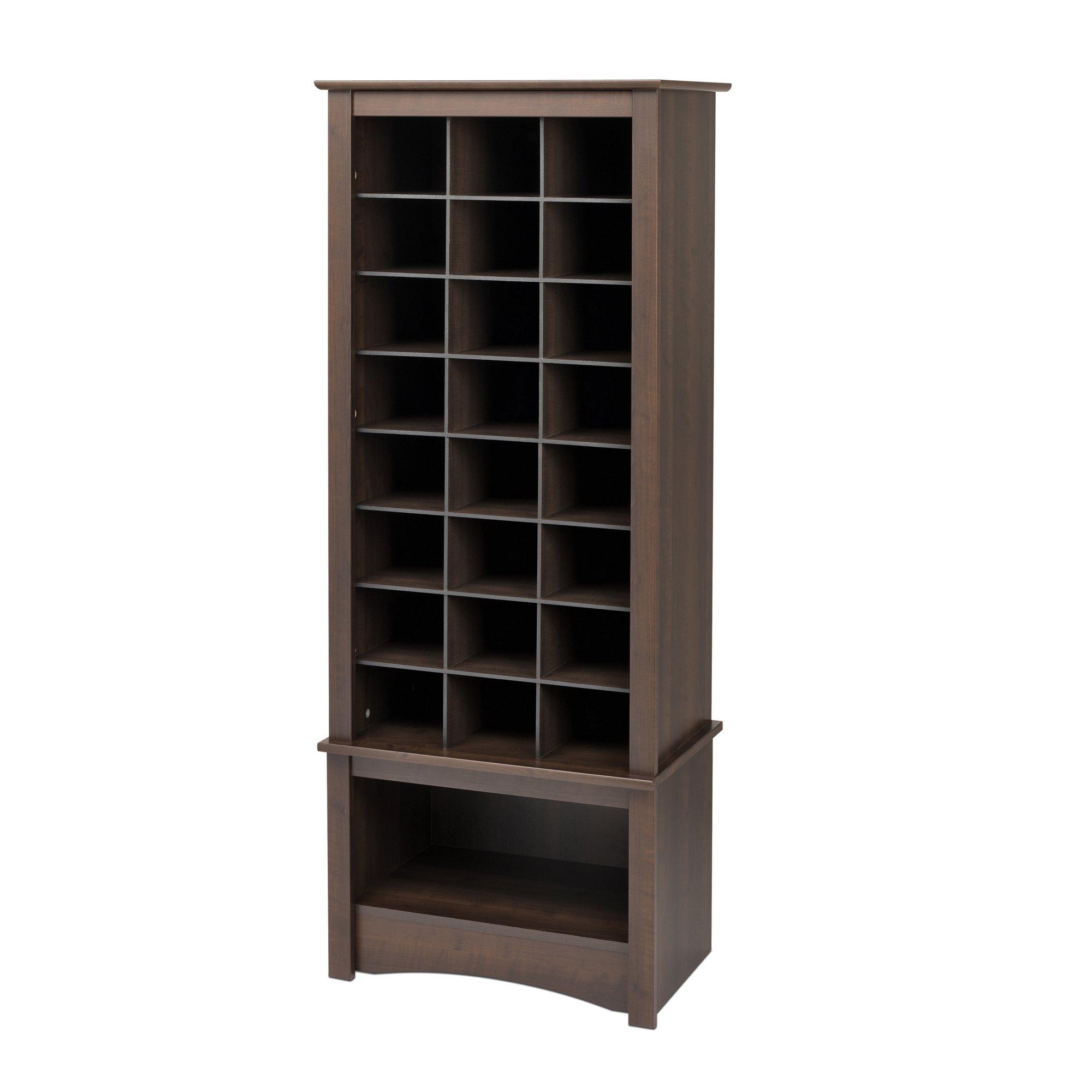 Espresso Tall Shoe Cubbie Cabinet by Prepac (Image #1)