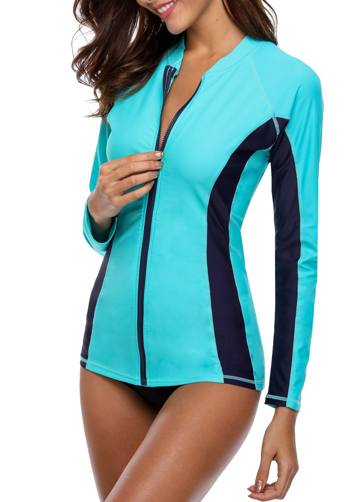 ATTRACO Long Sleeve Sporty Swim Shirt Womens Rashguard Tops Aqua Large by ATTRACO (Image #4)