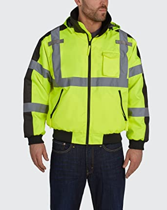 Utility Pro UHV575 Polyester High-Vis Waterproof 3 Season Jacket with  Removable Liner with Dupont Teflon fabric protector, Yellow, 3X-Large