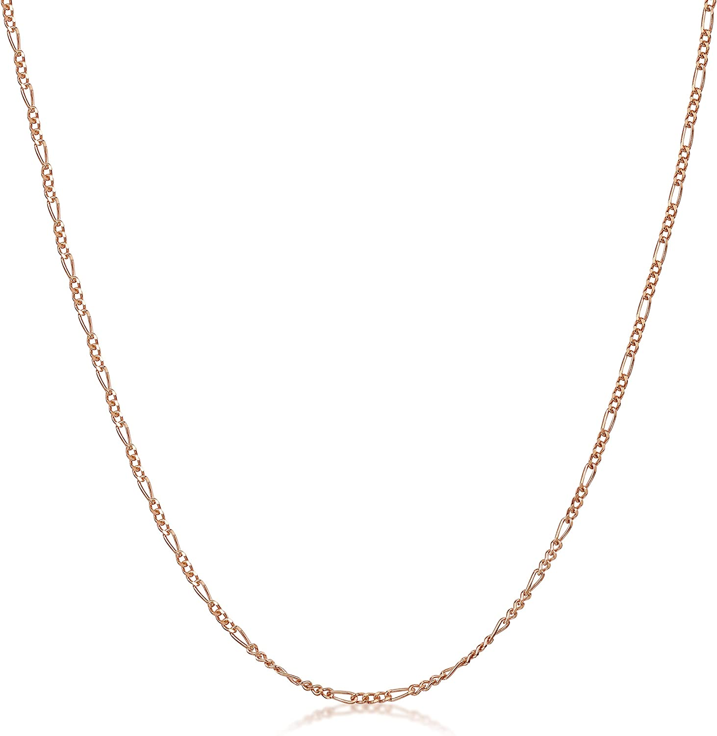 14K Rose Gold Plated on 925 Sterling Silver 1.5 mm Figaro Chain Necklace 14 16 18 20 22 24 in