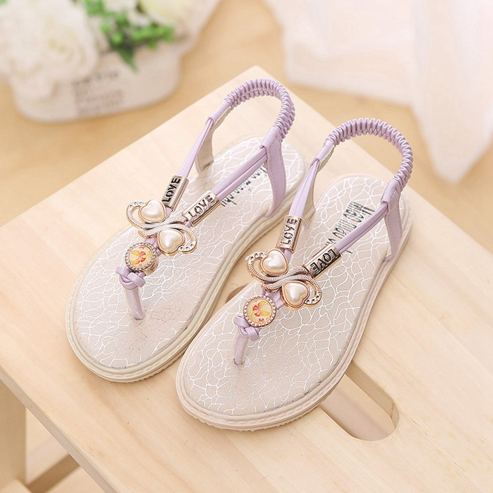 CYBLING Girls T-Strap Thong Sandals Slingback Flat Flip Flops with Rhinestone