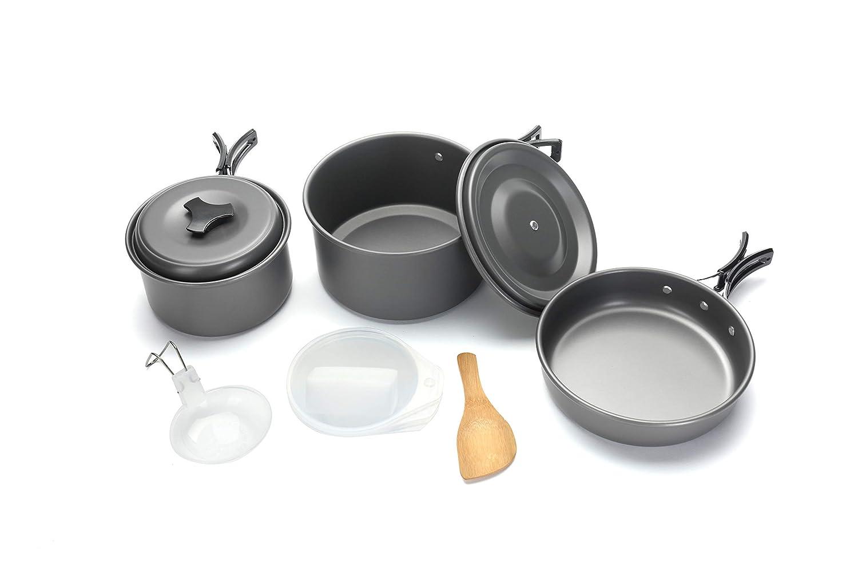 A.Uten Outdoor Camping Lightweigh pan Hiking Cookware Backpacking Picnic Cooking Bowl Pot Pan Set Durable Aluminum Camping Cookware [並行輸入品] B07R4TKPZ4