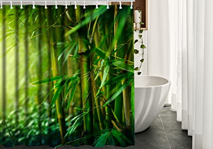 Amazon.com: Bamboo Shower Curtain Decor by HGOD DESIGNS, Green ...